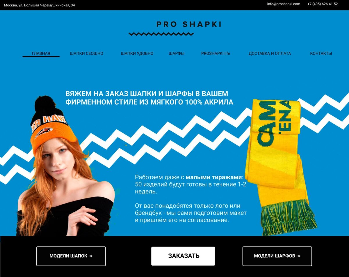 Концепция сайта PROSHAPKI